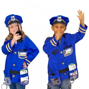 Melissa & Doug Police Officer Role Play Costume Dress-Up Set (8pc), Adult Unisex, Size: Small, Red/Gold - Sale