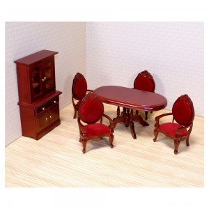 Melissa & Doug Classic Wooden Dollhouse Dining Room Furniture (6pc) - Table, Armchairs, Hutch - Sale