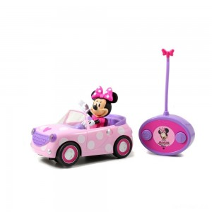 "Jada Toys Disney Junior RC Minnie Bowtique Roadster Remote Control Vehicle 7"" Pink with White Polka Dots - Sale"