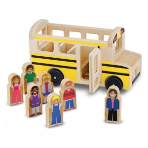 Melissa & Doug School Bus Wooden Play Set With 7 Play Figures - Sale