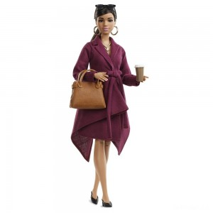 Barbie Signature Styled By Chriselle Lim Collector Doll in Burgundy Trench Dress - Sale