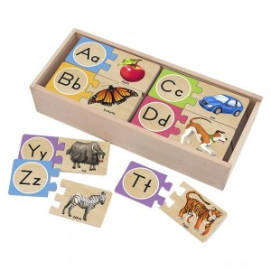 Melissa & Doug Self-Correcting Alphabet Wooden Puzzles With Storage Box 27pc - Sale