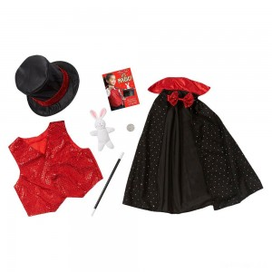Melissa & Doug Magician Role Play Costume Set - Includes Hat, Cape, Wand, Magic Tricks, Adult Unisex - Sale