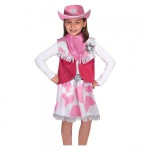 Melissa & Doug Cowgirl Role Play Costume Set (5pcs) - Skirt, Hat, Vest, Badge, Scarf, Adult Unisex - Sale
