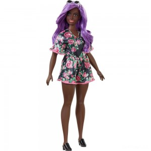 Barbie Fashionistas Doll #125 Black Floral Dress - Sale