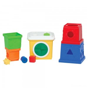 Melissa & Doug K's Kids Stacking Blocks Set With Sorting Shapes - Sale
