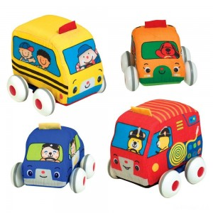 Melissa & Doug K's Kids Pull-Back Vehicle Set - Soft Baby Toy Set With 4 Cars and Trucks and Carrying Case - Sale