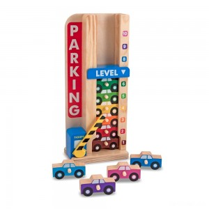 Melissa & Doug Stack & ct Wooden Parking Garage With 10 Cars - Sale