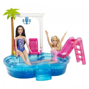Barbie Glam Pool with Water Slide & Pool Accessories - Sale