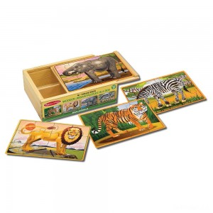 Melissa & Doug Wild Animals 4-in-1 Wooden Jigsaw Puzzles in a Storage Box (48pc) - Sale
