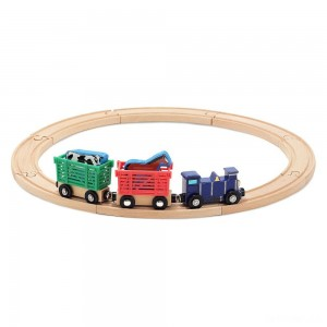 Melissa & Doug Farm Animal Wooden Train Set (12+pc) - Sale