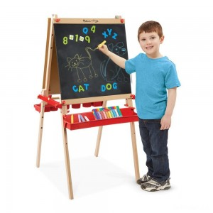 Melissa & Doug Deluxe Magnetic Standing Art Easel With Chalkboard, Dry-Erase Board, and 39 Letter and Number Magnets - Sale