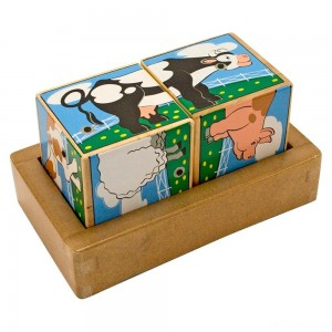Melissa & Doug Farm Sound Blocks 6-in-1 Puzzle With Wooden Tray - Sale