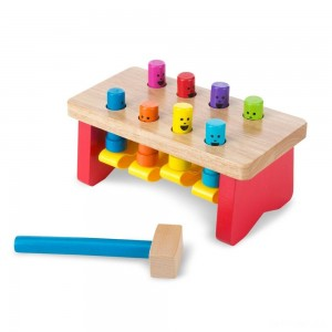 Melissa & Doug Deluxe Pounding Bench Wooden Toy With Mallet - Sale