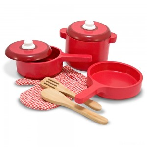 Melissa & Doug Deluxe Wooden Kitchen Accessory Set - Pots & Pans (8pc) - Sale