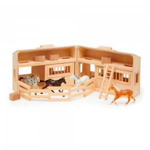 Melissa & Doug Fold and Go Wooden Horse Stable Dollhouse With Handle and Toy Horses (11 pc) - Sale