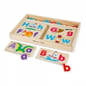 Melissa & Doug ABC Picture Boards - Educational Toy With 13 Double-Sided Wooden Boards and 52 Letters - Sale