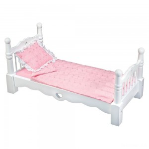 Melissa & Doug White Wooden Doll Bed With Bedding (24 x 12 x 11 inches) - Sale