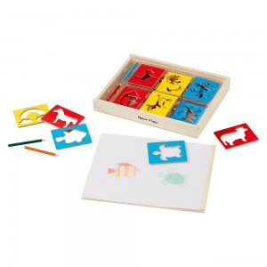 Melissa & Doug Wooden Stencil Set With 27 Themed Stencils and 4 Pencils - Sale