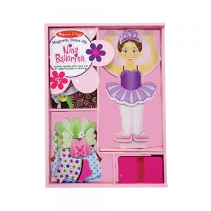 Melissa & Doug Deluxe Nina Ballerina Magnetic Dress-Up Wooden Doll With 27pc of Clothing - Sale