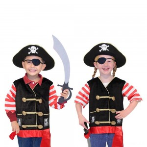 Melissa & Doug Pirate Role Play Costume Dress-Up Set With Hat, Sword, and Eye Patch, Adult Unisex, Black - Sale