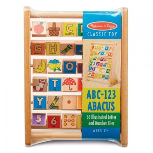 Melissa & Doug ABC-123 Abacus - Classic Wooden Educational Toy With 36 Letter and Number Tiles - Sale