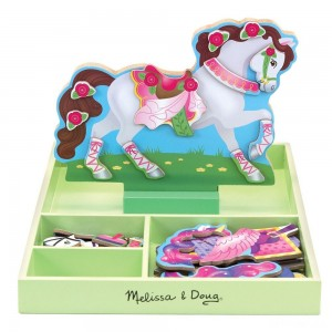 Melissa & Doug My Horse Clover Wooden Doll and Stand With Magnetic Dress-Up Accessories (60 pc - Sale