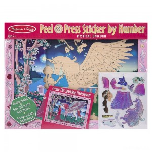 Melissa & Doug Peel and Press Sticker by Number Kit: Mystical Unicorn - 100+ Stickers, Jumbo Frame - Sale