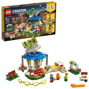 LEGO Creator Fairground Carousel 31095 Space-Themed Building Kit with Ice Cream Cart 595pc - Sale