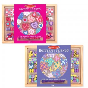 Melissa & Doug Sweet Hearts and Butterfly Friends Bead Set of 2 - 250+ Wooden Beads - Sale