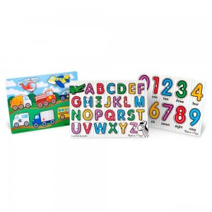 Melissa & Doug Wooden Peg Puzzles Set - Alphabet, Numbers, and Vehicles 44pc - Sale