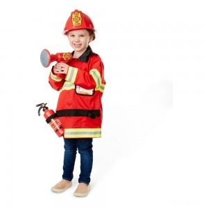 Melissa & Doug Fire Chief Role Play Costume Dress-Up Set (6pc), Adult Unisex, Size: Small, Red - Sale