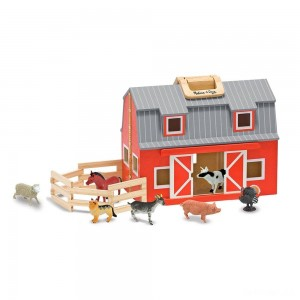 Melissa & Doug Fold and Go Wooden Barn Play Set - 10pc - Sale