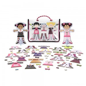 Melissa & Doug Tops and Tights Magnetic Dress-Up Wooden Doll Pretend Play Set (56+pc) - Sale