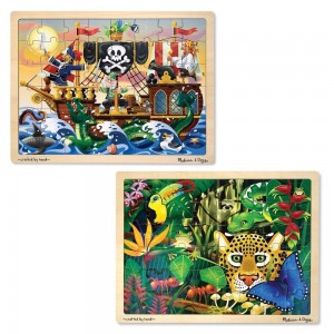 Melissa & Doug Wooden Jigsaw Puzzles Set - Rainforest Animals and Pirate Ship 2pc - Sale