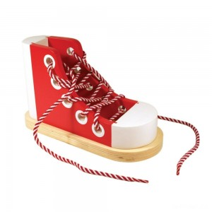 Melissa & Doug Deluxe Wood Lacing Sneaker - Learn to Tie a Shoe Educational Toy - Sale
