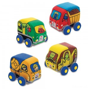 Melissa & Doug Pull-Back Construction Vehicles - Soft Baby Toy Play Set of 4 Vehicles - Sale