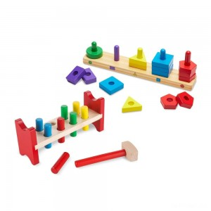 Melissa & Doug Classic Wooden Toy Bundle - Pound-A-Peg, Stack and Sort Board - Sale