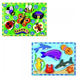 Melissa & Doug Wooden Chunky Puzzles Set - Ocean Animals and Insects 14pc - Sale