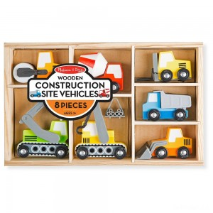 Melissa & Doug Wooden Construction Site Vehicles With Wooden Storage Tray (8pc) - Sale
