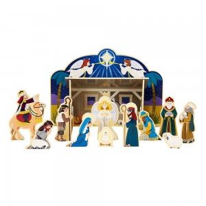 Melissa & Doug Classic Wooden Christmas Nativity Set With 4-Piece Stable and 11 Wooden Figures - Sale