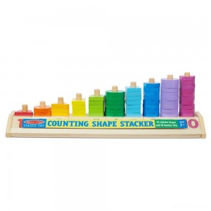 Melissa & Doug Counting Shape Stacker - Wooden Educational Toy With 55 Shapes and 10 Number Tiles - Sale
