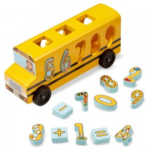 Melissa & Doug Number Matching Math Bus - Educational Toy With 10 Numbers, 3 Math Symbols, and 5 Double-Sided Cards - Sale