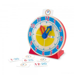 Melissa & Doug Turn & Tell Wooden Clock - Educational Toy With 12+ Reversible Time Cards - Sale