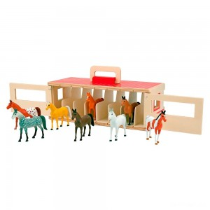 Melissa & Doug Take-Along Show-Horse Stable Play Set With Wooden Stable Box and 8 Toy Horses - Sale