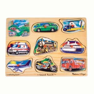 Melissa And Doug Vehicle Puzzle Wooden Peg Sound Puzzle 8pc - Sale