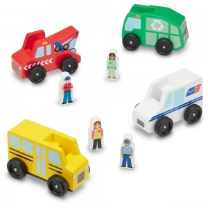Melissa & Doug Community Vehicles Play Set - Classic Wooden Toy With 4 Vehicles and 4 Play Figures - Sale