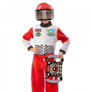 Melissa & Doug Race Car Driver Role Play Costume Set (3pc) - Jumpsuit, Helmet, Steering Wheel, Adult Unisex, Size: Small, Gold - Sale
