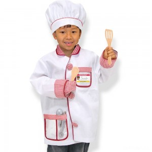 Melissa & Doug Chef Role Play Costume Dress -Up Set With Realistic Accessories, Adult Unisex, Red/Gold/red - Sale