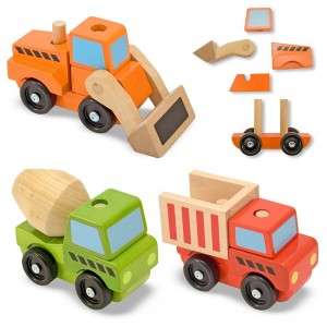 Melissa & Doug Stacking Construction Vehicles Wooden Toy Set - Sale